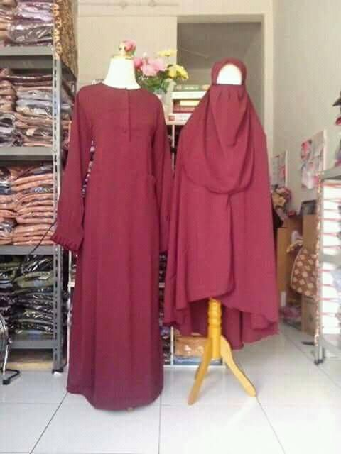 Gamis syar'i polos (gamis,jilbab,cadar tali)