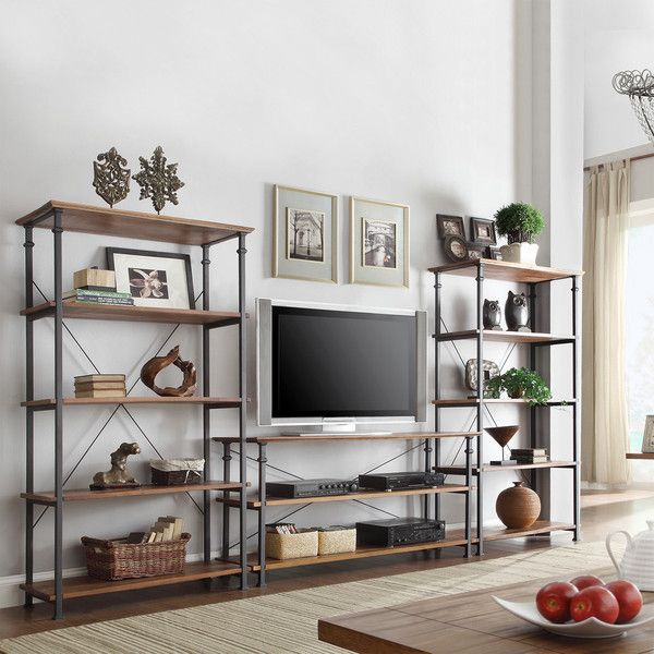 Tribecca Home Myra Vintage Industrial Modern Rustic 3-piece TV Stand... ($900) via Polyvore featuring home, furniture, storage & shelves, bookcases, storage shelf, shelf book case, storage furniture, book-case and shelving furniture