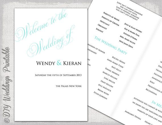 Wedding program templates Tiffany blue DIY by diyweddingsprintable, $8.00