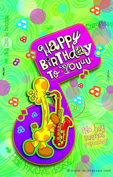 Feliz cumpleaños para ti-Jirafa vera tocando el saxofón © ZEA www.tarjetaszea.com