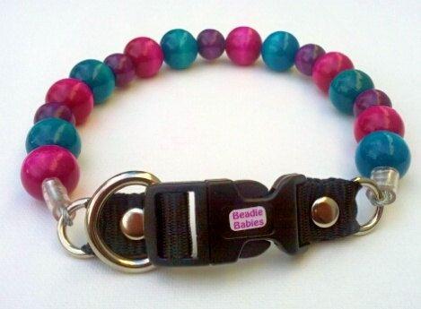 Turquoise Fushia and Purple Dog Collar Buckle by BeadieBabiez