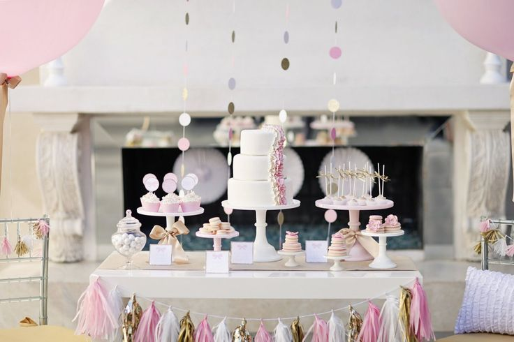 TomKat Studio pink and gold dessert table