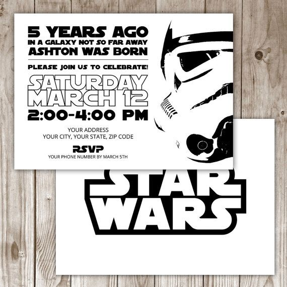 Digital File - Star Wars Invitation by WildTreeBoutique on Etsy