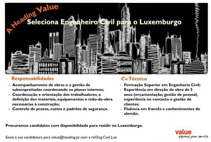 Selecionamos Engenheiros Civis para o Luxemburgo