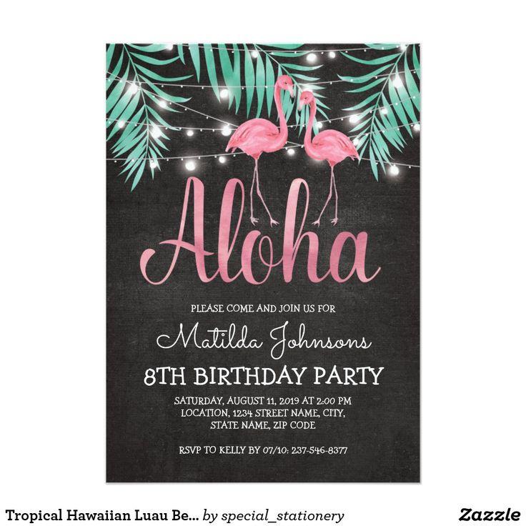 Tropical Hawaiian Luau Beach Birthday Party Invitations