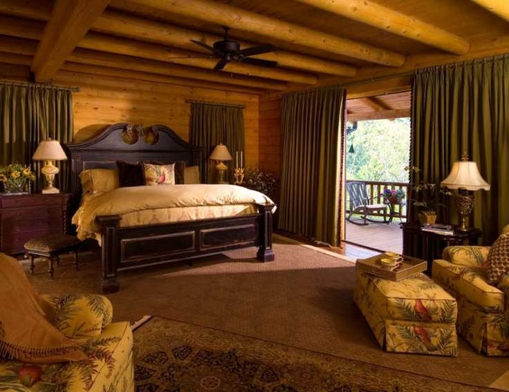 Log home master bedroom log cabin pinterest will for Log home master bedrooms