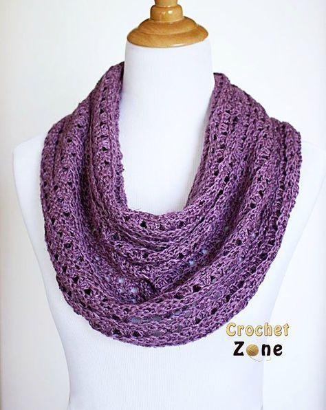 Free Crochet Pattern lacy Eve infinity Scarf by Crochet Zone
