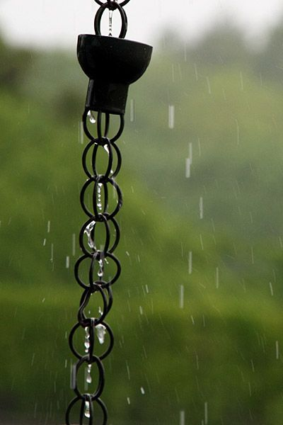Japanese rain chain. Rain chains are called 'kusari doi' in Japanese and have been used for hundreds of years to deposit rain water into barrels for later household use.