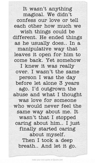 This is a perfect description of what happened.  I couldn't have written this any better. His loss.