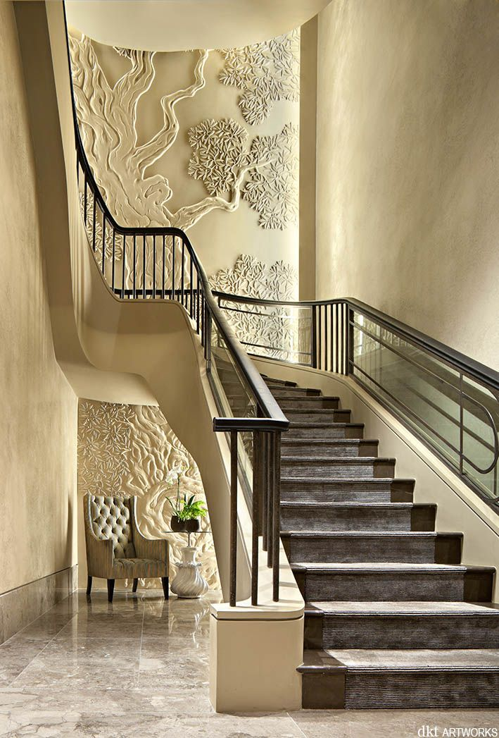 Olive tree artwork, stairwell, private apartment, Chelsea, London