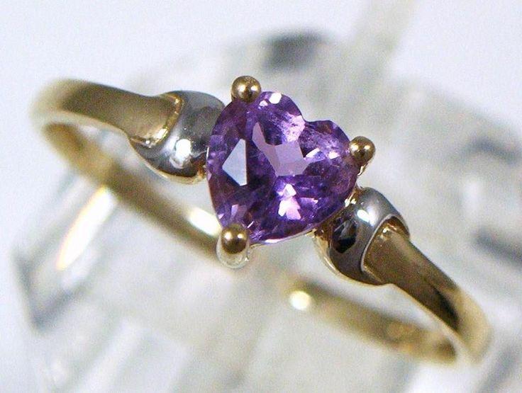 Vintage 9ct Gold Love Heart Shape Amethyst Set Dress Ring c. 1980's . U.K size N