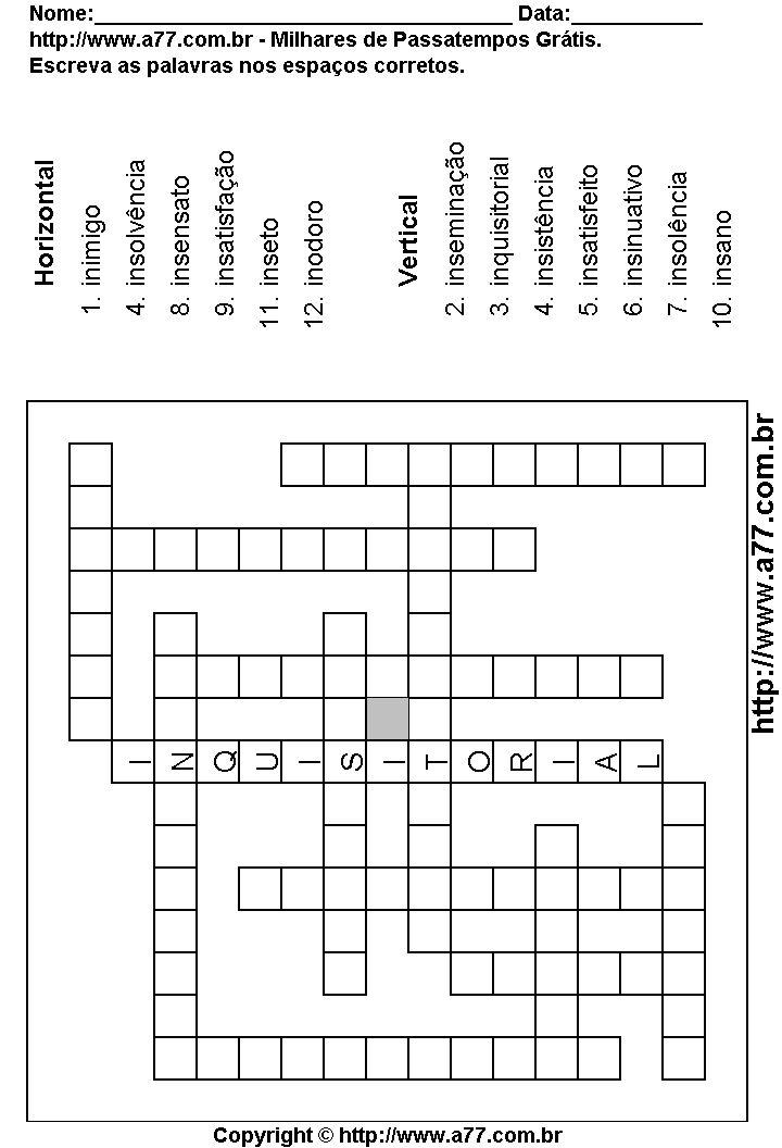 palavras cruzadas grátis | Versão Para Impressão Deste Passatempo | Veja Mais Palavras Cruzadas
