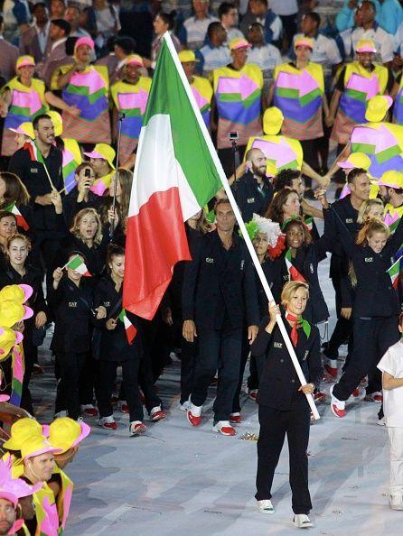#RIO2016 Team leader of Italia Federica Pellegrini during the Olympic Games opening ceremony at Maracana Stadium on August 5 2016 in Rio de Janeiro Brazil