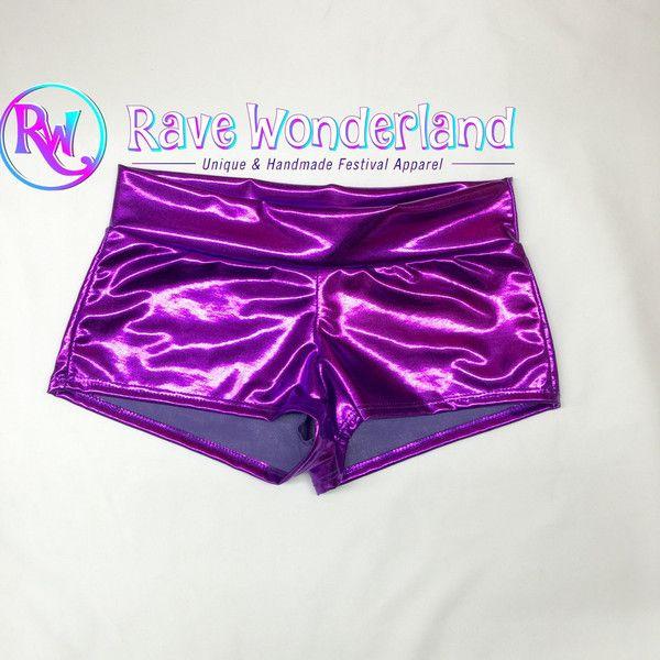 Women's Metallic Purple Booty Shorts Purple Shorts Purple Boy Shorts... ($15) ❤ liked on Polyvore featuring shorts, light purple, women's clothing, metal shorts, short shorts, purple boy shorts, short boy shorts and purple shorts