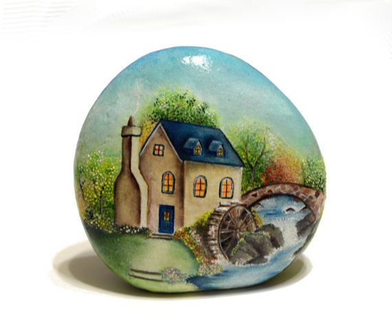 Painted stone sasso dipinto a mano. Old mill by OceanomareArt
