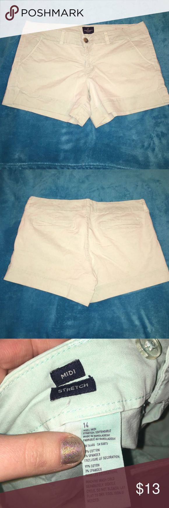 AE mint shorts American Eagle size 14 stretch mint colored shorts. Worn a handful of times, super comfy! No rips stains or tears. 37 inch waist, 4.5 inch inseam. American Eagle Outfitters Shorts