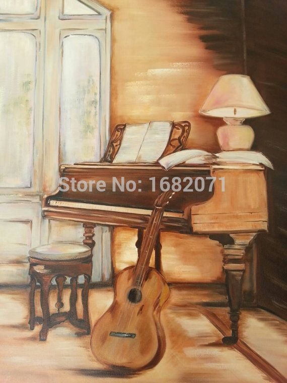 Hand-painted Most Popular Living Room Musical Instrument Piano Oil Painting On Canvas Impression Piano Oil Painting On Canvas