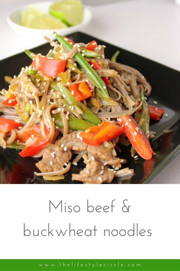 This hearty Japanese inspired stir-fry is made with beef, miso paste & buckwheat noodles. Probiotic bacteria that's good for your gut, improves digestion and boosts the immune system.