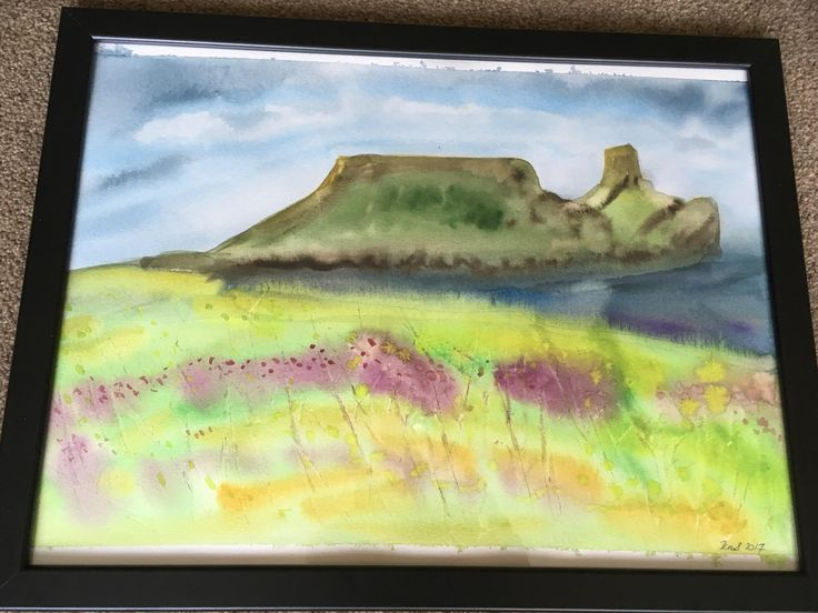 New Original watercolour painting of Worms Head, the Gower Peninsula, South Wales (UK)  Framed and ready to hang by KnottyThistle on Etsy