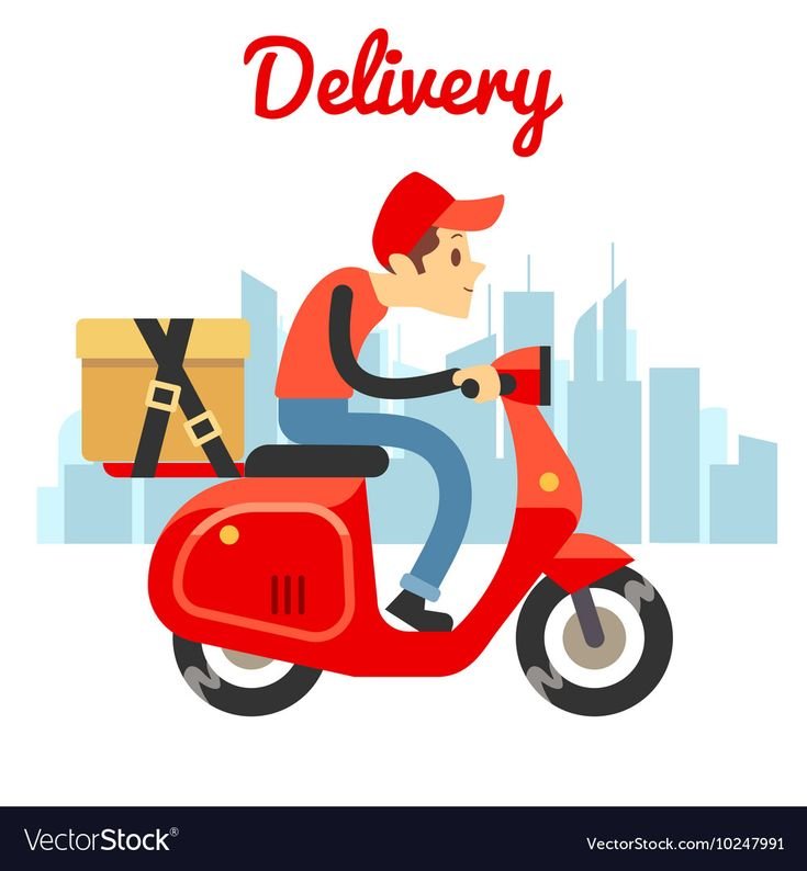 Delivery Courier Ride Scooter Motorcycle Vector Image On