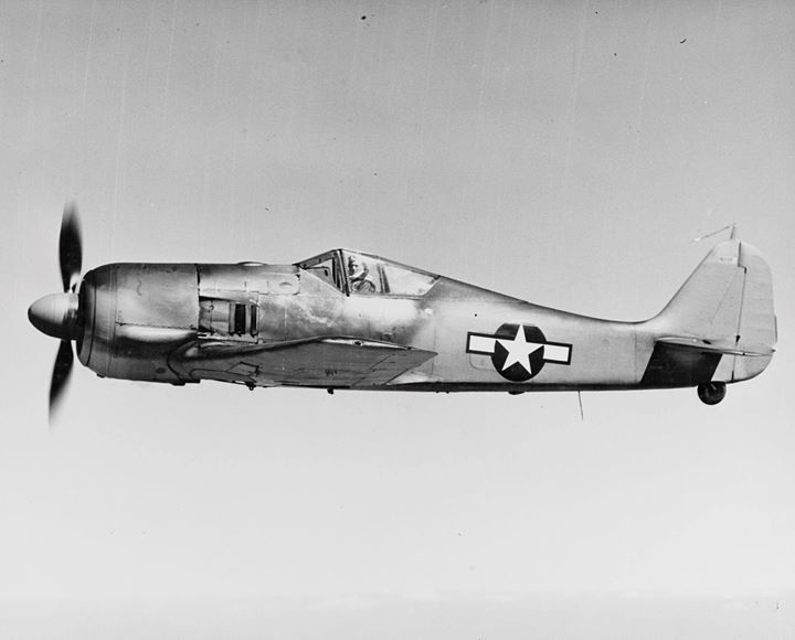 Captured Focke-Wulf Fw-190 Würger being flight tested in the United States probably out of Wright Field near Dayton Ohio 1944.
