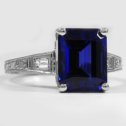 Platinum Shire Regalia Diamond Ring Set With A 10x8mm Lab Created Blue Emerald