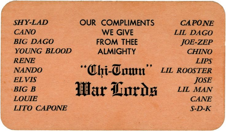 Surprising Business Cards of Chicago Gangs