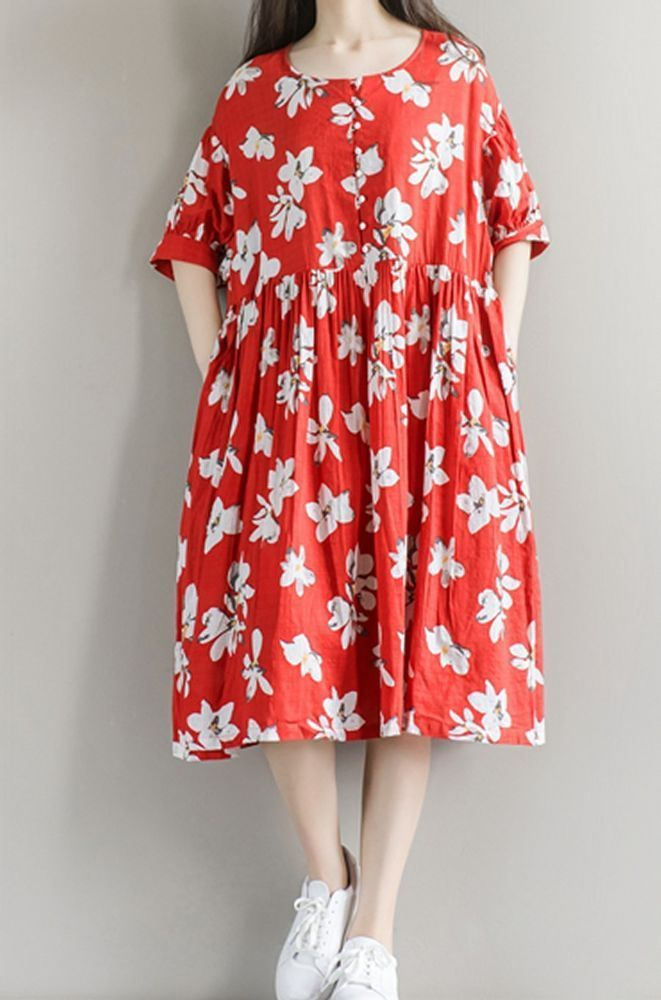 Women loose fitting over plus size retro flower dress tunic pregnant maternity #Unbranded #dress #Casual