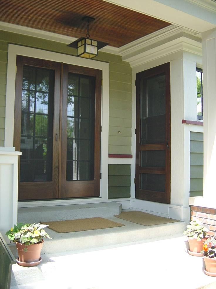 Traditional Screen & Storm Door | Double Manhattan (Left) & Single Foxwood (Right) Models | www.VintageDoors.com