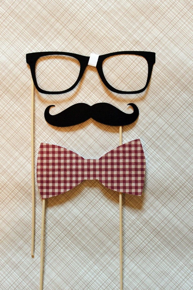 Mustache, Bow Tie, and Geek Glasses on a Stick -  Three Peice Photobooth Prop Kit.