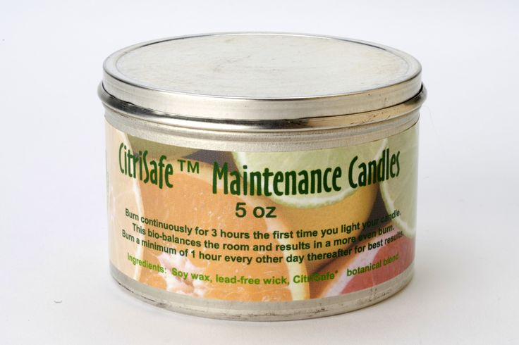 Maintenance Candle (5 oz) -  Rely on our specially formulated soy-based candles to help maintain a pleasant environment. They emit a safe, odorless concentrate of citrus and vegetable extract. Whether at home, work or traveling, you can easily create comfortable surroundings to help you relax and thrive. Produced in a tin container with a lid. Burn 3 hours the first day and 1 hour every 1 to 2 days thereafter. Lasts up to 30 hours.