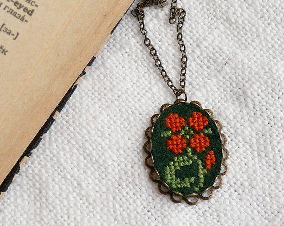Cross stitch necklace Flower on dark green felt by skrynka on Etsy, $26.00
