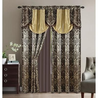 "Double Rideaux Oriental ""Kantara"" 240 x 300 cm - Chocolat / Or"