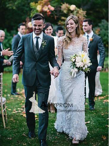 Romantic Wedding Dress Lace Half Sleeve Beautiful Wedding Gowns Elegant Bridal Gowns AMY2562