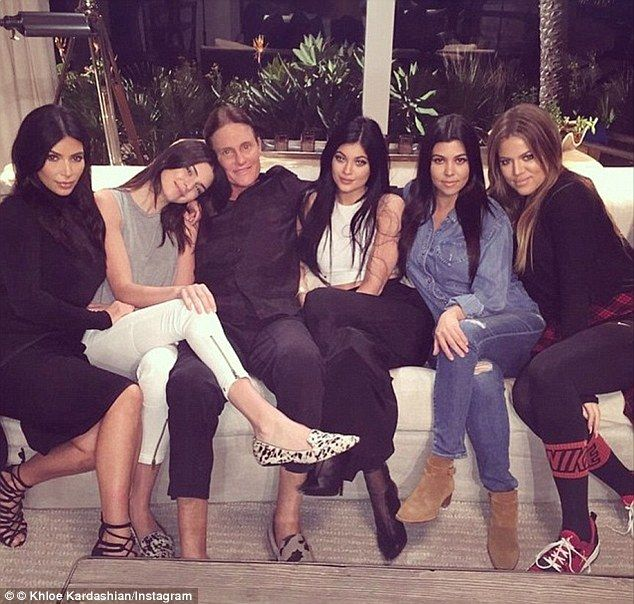 With his daughters: From left Kim, Kendall, Bruce [now Caitlyn], Kylie, Kourtney and Khloe