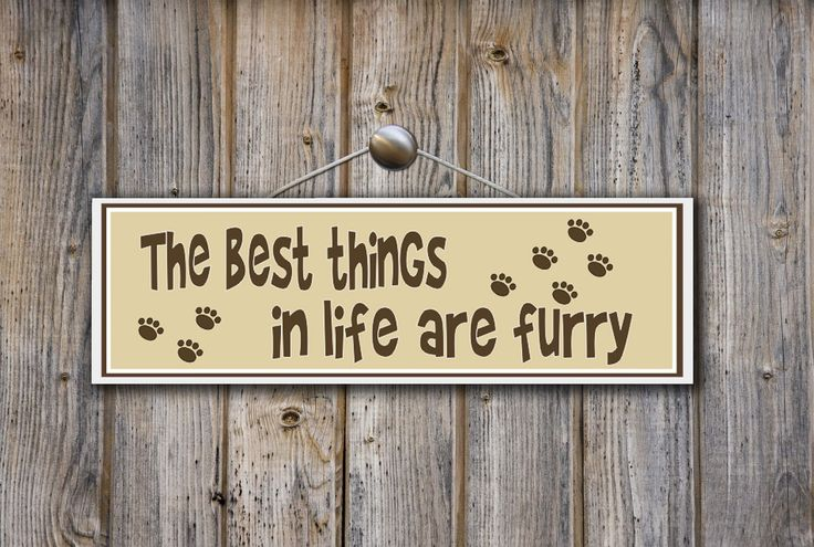 The best things in life are furry... Rustic wood Dog or cat sign