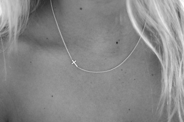 simple sideways cross necklace in silver.. couldn't find one at James Avery, but maybe Target would have something similar to this? :)
