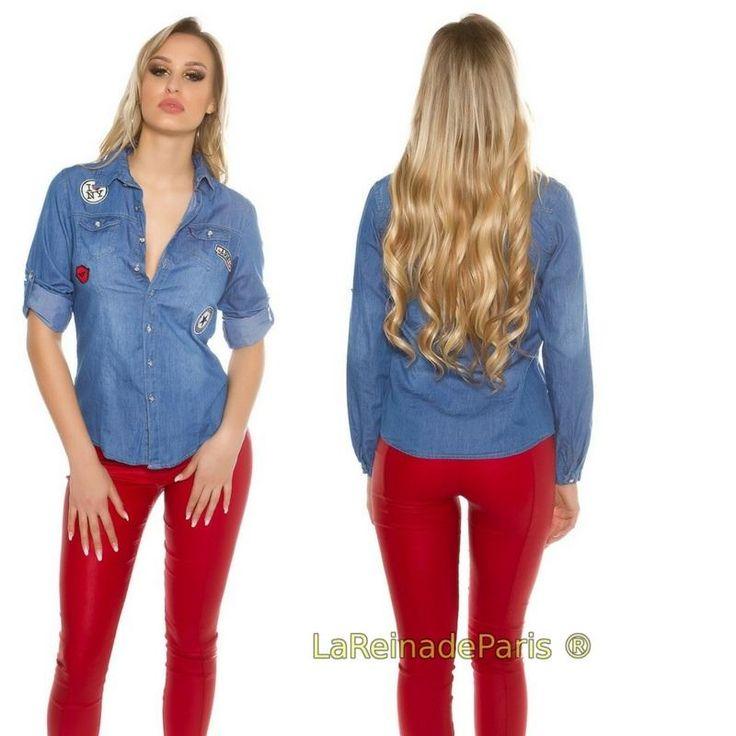 Camisa de jean con parches