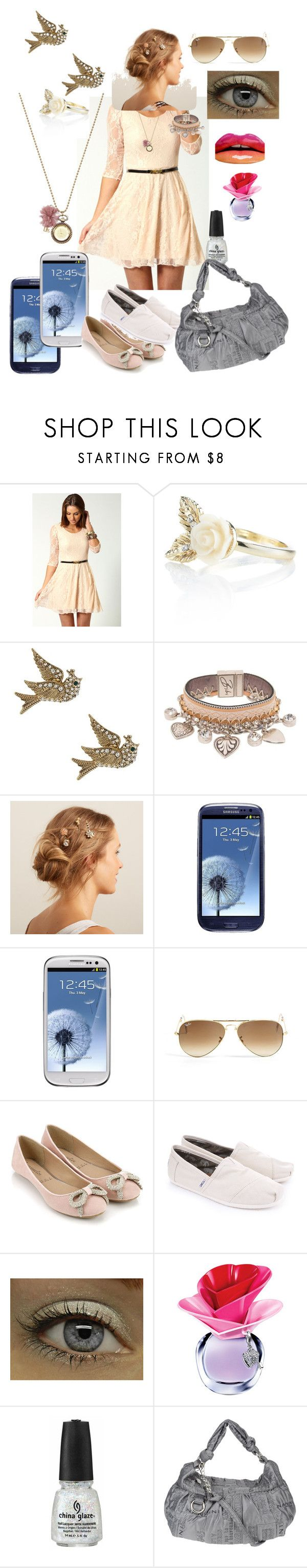 """""""First Date"""" by miss-smilee ❤ liked on Polyvore featuring Boohoo, Accessorize, Betsey Johnson, Bibi Bijoux, Mimco, Samsung, Ray-Ban, TOMS, Justin Bieber and China Glaze"""