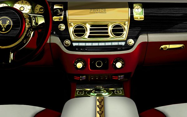 The Fenice Rolls Royce Ghost 'Diva' Has Lots Of 24k Gold Inside and Out.