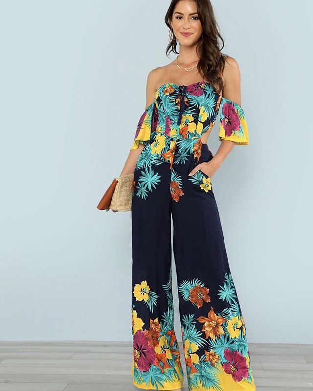 9cbbfb3bf68 Flounce Layered Knotted Back Flare Hem Jumpsuit - www.anabellas.co   anabellas  jumpsuit  mangamedia  estampado  maxi