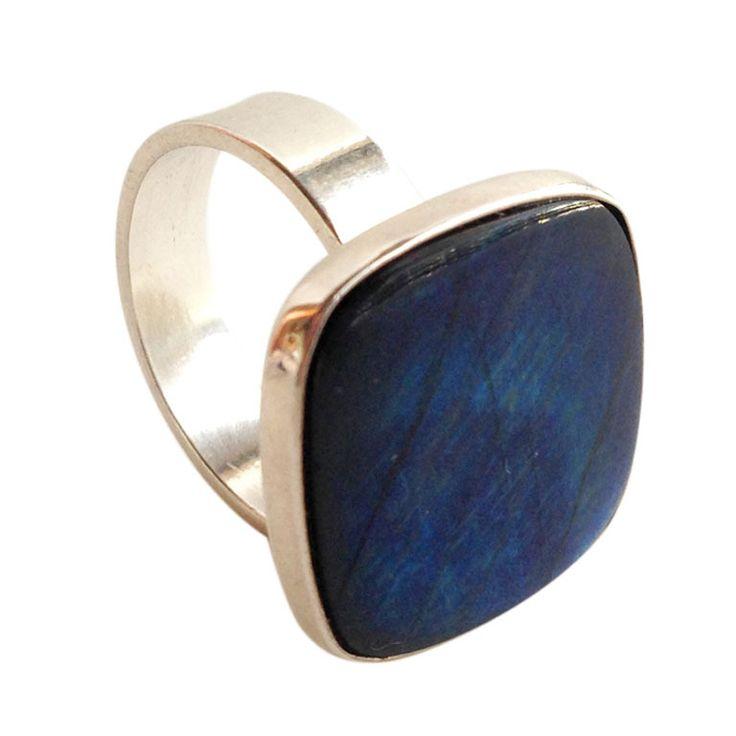 Kalevala  Koru, sterling silver ring with spectrolite, 1989. #Finland   finlandjewelry.com
