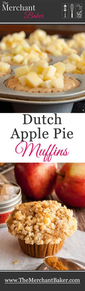 Dutch Apple Pie Muffins. A whole wheat applesauce muffin piled high with chopped apples and buttery crumb topping.