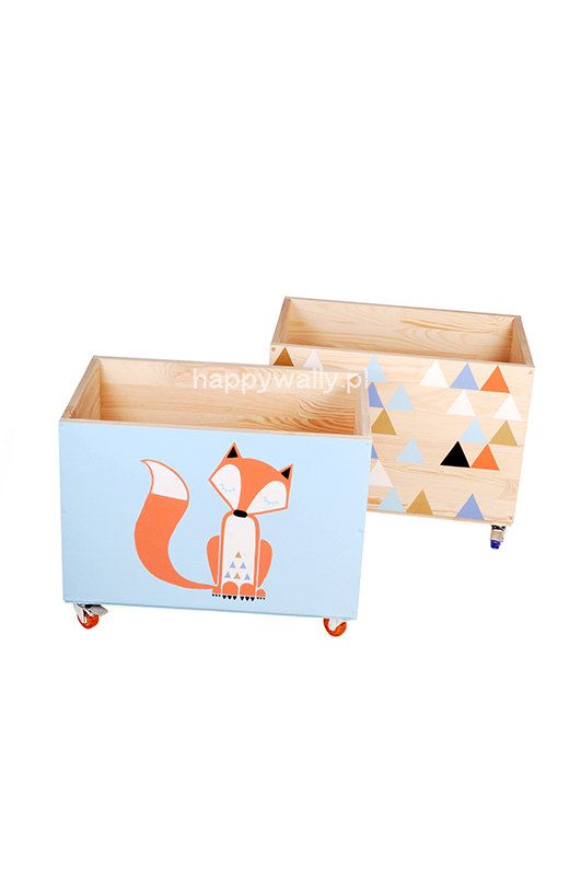 Set Of Two Bo Toy Chest Nursery Box Bin Storage Kids Furniture Wooden Solid On Wheels Plywood Triangles Sleepy Fox