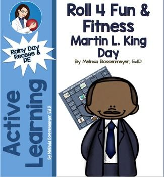 Kids will love this Martin L. King Board Game where they roll and land on exercise activities. You can play indoors or out in pairs or as a class. A great rainy day activity for indoor recess or physical education.  Set  includes both a game board for laminating and a black and white version to duplicated.For ages K-5th grade.