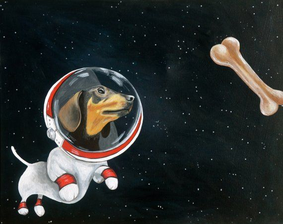 Dachshund Space Dog Chasing Space Bone Original Painting By Amy