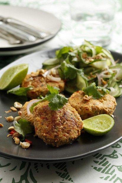 Caroline Velik's Thai fishcakes with cucumber salad. Photo: Marina Oliphant