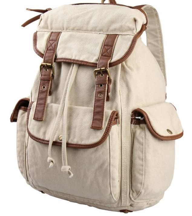 Canvas Book Bag Casual Student Outdoor Backpack #canvasbackpack #canvasleatherbag