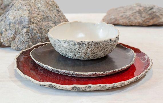 Handmade organic dinnerware setting, Large ceramic dinner set ,Stoneware dinner setting, Red Dinner plate, Wedding gift, Birthday gift