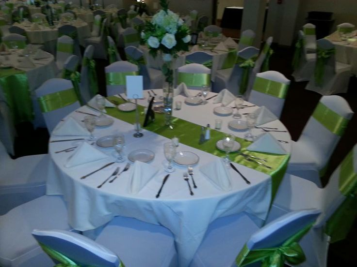 Table Setup with Chair Covers at the Greek Orthodox Church